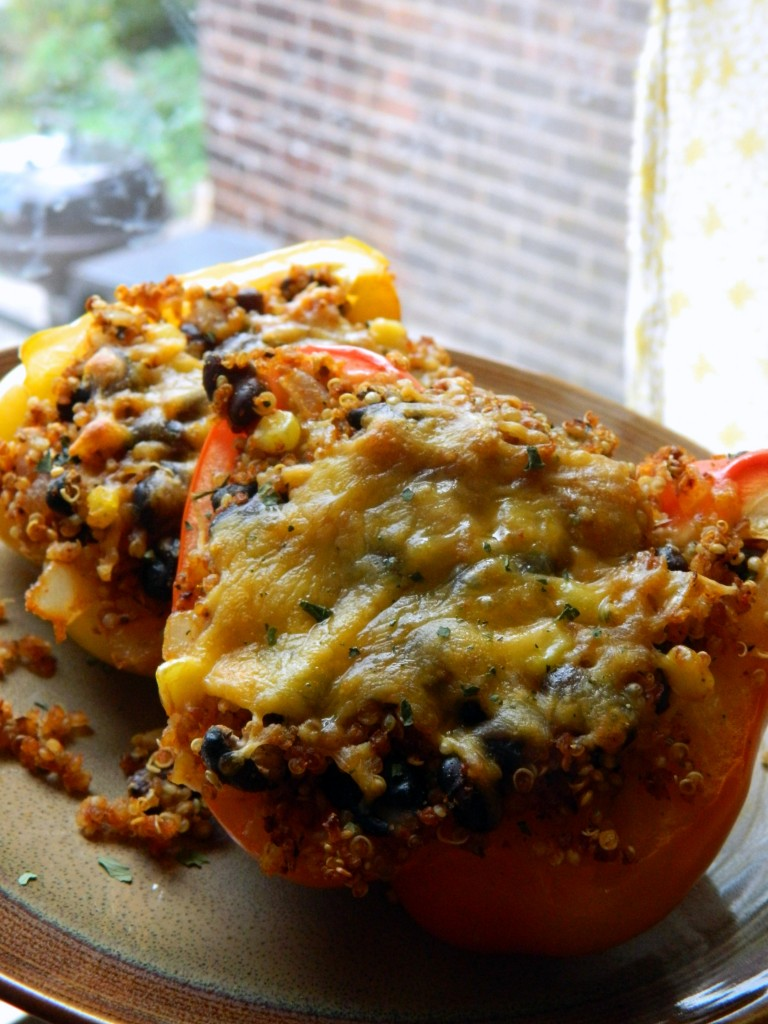 Cooking in College - Quinoa Stuffed Peppers
