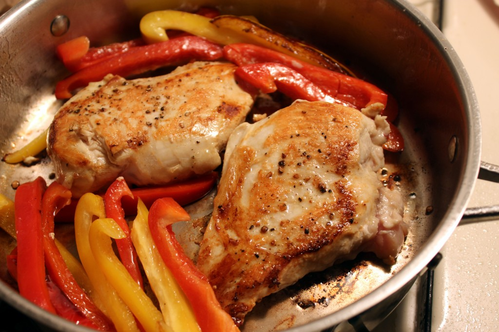 Browned chicken and peppers