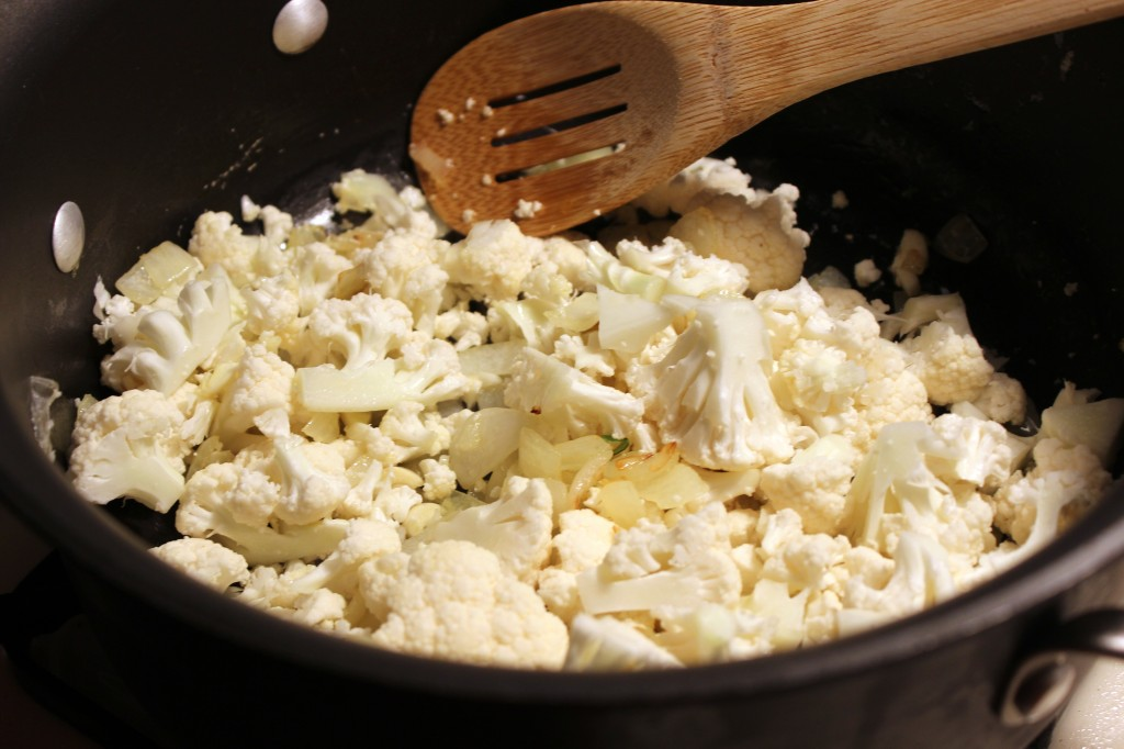 Sauteing the cauliflower