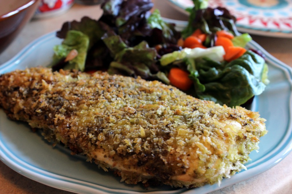 Cooking in College - Pesto Crusted Chicken